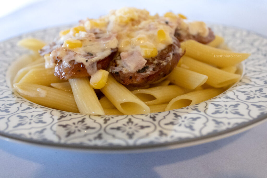 Penne with sausage alfredo