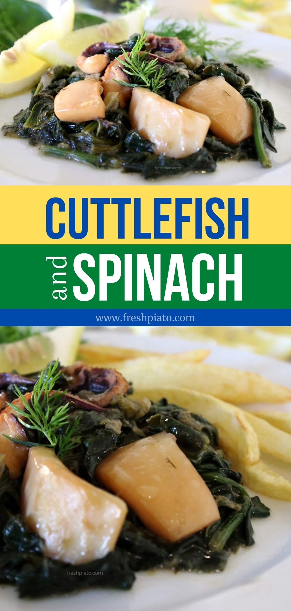 cuttlefish with spinach recipe pin