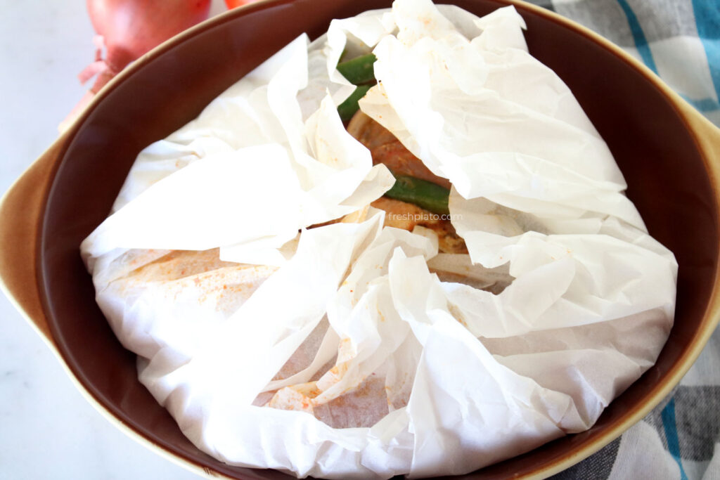 exohiko dish closed in parchment paper recipe instruction