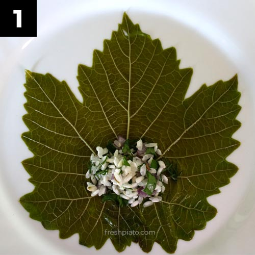 How to wrap grape leaves step 1