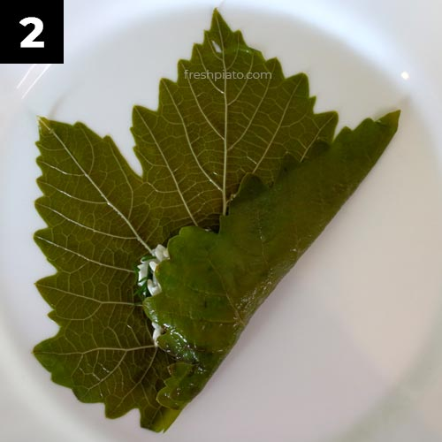 How to wrap grape leaves step 2