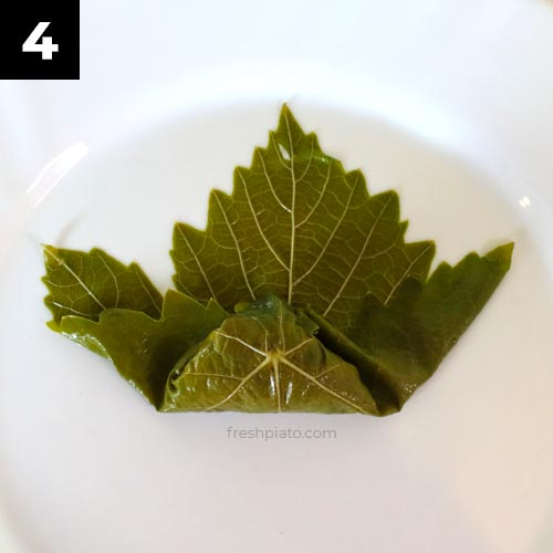 How to wrap grape leaves step 4