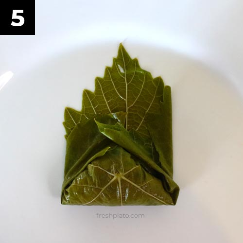 How to wrap grape leaves step 5