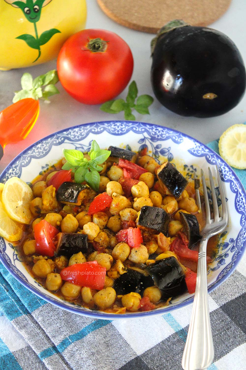 Chickpeas with eggplants and basil recipe