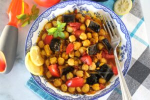 Revithada with eggplants and basil recipe