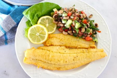 Pan fried Sole with black-eyed peas salad recipe